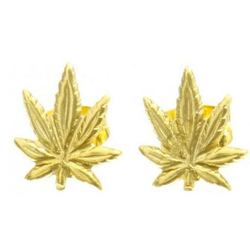 NEW colors- POT LEAF Vintage Gold plated Stud Earrings