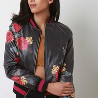 Vegan Leather Floral Print Bomber Jacket