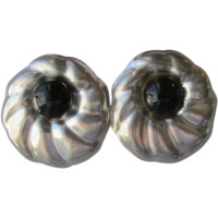 BIG Vintage 1980's Taxco Mexico Sterling Silver & Black Onyx Pierced Earrings