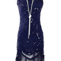 1920's Vintage Gatsby Bead Sequin Art Nouveau Deco Flapper Dress - Fringe