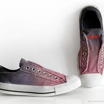 ombr dip dye converse blossom pink blue grey slip on sneakers tie dye transforme
