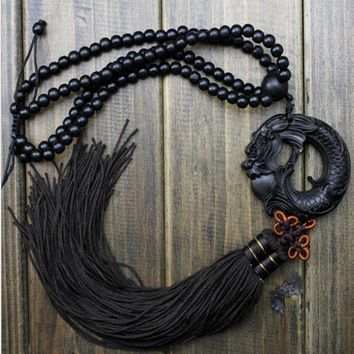 China Black Dragon Statue Beast Wood Carving Crafts Amulets Car Hanging Decoration Buddha sculpture Wooden Craft Beads