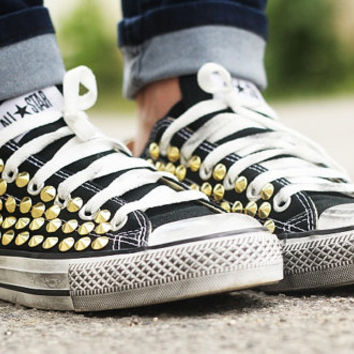Studded Converse, Converse Black Low Top with Gold cone rivet studs by CUSTOMDUO on ETSY