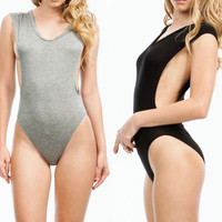 basic solid side deep plunging sexy muscle zipper back open bodysuit leotard top