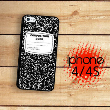 iPhone 4S Case Black and White Composition Notebook  / Hard Case For iPhone 4 and iPhone 4S Plastic or Rubber Trim