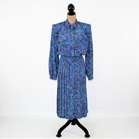 80s Long Sleeve Dress Women Large Pleated Shirtwaist Dress Blue Paisley Secretary Dress Size 14 Leslie Fay Vintage Clothing Womens Clothing