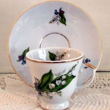 Set of 2 Demitasse Tea Cup and Saucer Lily of the Valley