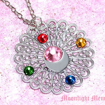 Sailor Moon Necklace - Inspired by Sailor Moon TRANSFORMATION Brooch Compact - Swarovski Crystals Silver Sailor Moon Necklace Jewelry Gift
