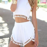 ON SALE  CUTE TASSEL TWO PIECE ROMPER