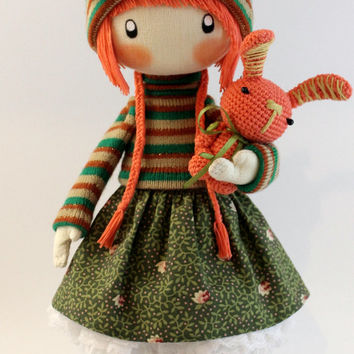 Doll Zooey with rabbit- brooch, cloth doll orange and green redhead doll gift for her