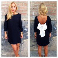 Black & White Tuxedo Bow Back Dress