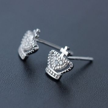 Fashion zircon king crown 925 Sterling Silver earrings ,a perfect gift