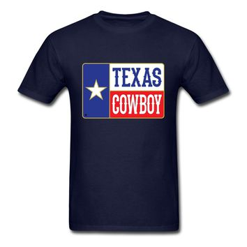 Unique Texas Cowboy Tee Men's Short Sleeves Custom 100% Cotton Star Letter T-shirt Youth Guys Funny T Shirts