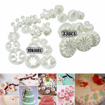 Hot Sale 33 pcs Christmas Flower rose leaf petal set Cookie Cutter Fondant Tool Baking Cake DTY Decorating Press Pastry