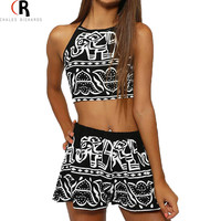 2016 Women Two Pieces Backless Spaghetti Strap Halter Elephant Animal Geometric Aztec Prints Crop Top with High Waist Shorts