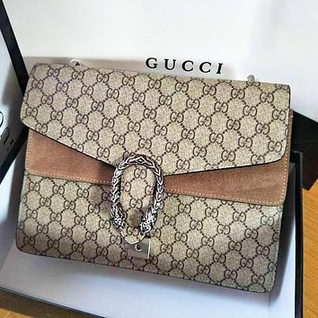 Gucci Fashion Lady Alcoholic Single Shoulder Bag Khaki