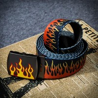 new fashion flame print belt women and men