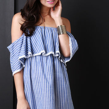 Striped Off The Shoulder Cotton Dress