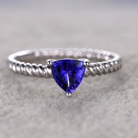1.5ct Trallion Blue Tanzanite Engagement Ring Diamond Wedding Ring 14K White Gold Filigree Style