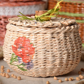 Woven handmade unique decorative  basket with lid decoupage Easter gift ideas