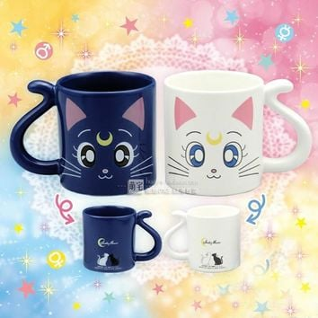 2 pieces Cute Anime Sailor Moon Crystal Cat Coffee Mug