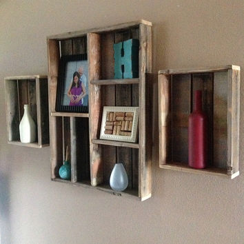 Reclaimed Wood Wall Shelf And Shadow Box Set Of 3