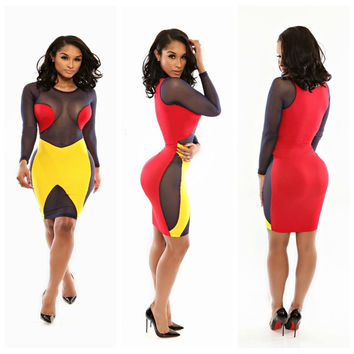 Red and Yellow Mesh Long Sleeve Bodycon Dress