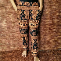 Elephants Print Women's Slim Cut Harem yoga Pant Trousers Yoga Hippie Boho Gypsy Style Clothing For Beach Summer festival casual in orange