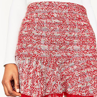 STRUCTURED MINI SKIRT WITH RUFFLE DETAILS