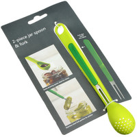 Easy Tools Kitchen Helper Home Hot Deal On Sale Kitchen Fruit Fork Innovative Green 2 In 1 Spoon [10250041612]