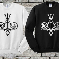 Harry Potter, Percy Jackson, Mortal Instruments, Hunger Games, and Divergent Black White sweater Sweatshirt Crewneck Men or Women Unisex