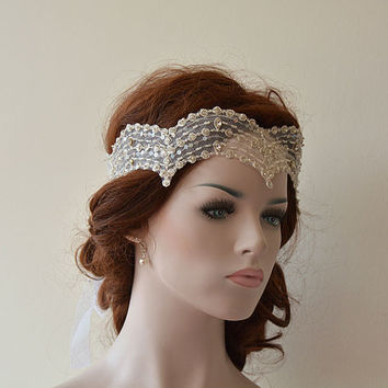 Wedding Lace Headband, Wedding Hair Accessory,  Bridal  Headband,  Vintage Style Lace, Bridal Hair Accessories
