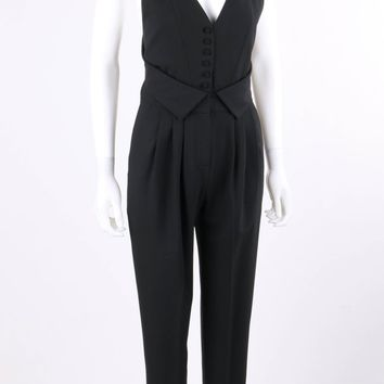 FENDI Resort 2009 Black Wool Sleeveless Tapered Pant Tuxedo Jumpsuit