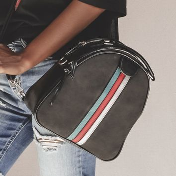 City Streets Black Suede Striped Backpack