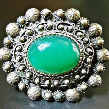 800 Silver Chrysoprase Austro Hungarian Brooch, Georgian to Pre-Victorian, Trombone Clasp, Antique