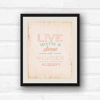 Inspirational Quote Home Decor - Nursery Decor - Kitchen Decor - Coral and Mint decor - 8x10 graphic art print