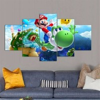 Super Mario party nes switch 5 Panels Waterproof Canvas Painting Cartoon  HD Print Living Room Wall Hanging Art Oil Prints Pictures Modular Poster AT_80_8
