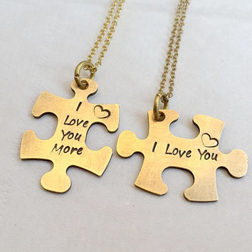 Puzzle piece necklace set, His & Hers, Couples necklace, Couples necklace, Mr. Mrs. necklace, Gold couples necklace, personalized Gift idea