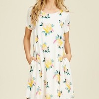 Ivory Floral Print Pocket Dress
