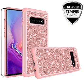 Samsung Galaxy S10 Plus Case, Galaxy S10+ Glitter Bling Heavy Duty Shock Proof Hybrid Case with [HD Screen Protector] Dual Layer Protective Phone Case Cover for Samsung Galaxy S10 Plus W/Temper Glass - Rose Gold
