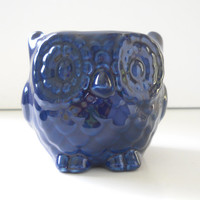 Ceramic Mini Owl Desk Planter Vintage Design in Navy Blue Succulent Cactus Container Pot