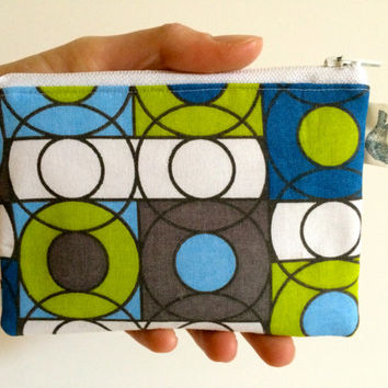Coin Purse Coin Bag Small Cosmetic Clutch in Green Circle Geometric