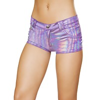 Holographic Boy Shorts with Dummy Pockets