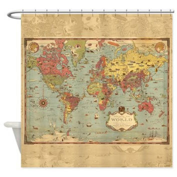 World Mercator Map Shower Curtain - Historical , antique image colorful, vintage map - Home Decor - Bathroom - travel, blue, green aged