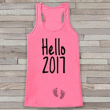 Hello 2017 Tank Top - Baby Feet Shirt - Womens Tank Top - Happy New Years Tank -  Pink Tank - Pregnancy Announcement - Baby Reveal Idea