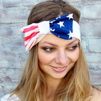 Cute  headband with  american flag bow   great accessory for your outfit