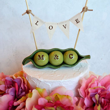 Wedding cake topper...Peas In a Pod and LOVE banner... Personalized, custom initials...Made to order