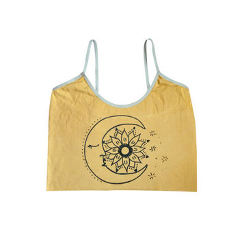 Organic Sunflower Moon yoga crop top