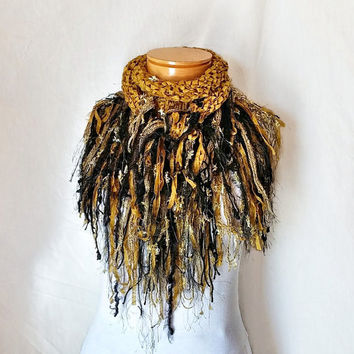 Gold  triangle scarf Cowl neck Ribbon yarn shawlette Knit scarf  Black fringe Fashion scarflette Evening wear party