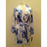 Jones New York Blue Watercolor Bouquet Printed Satin Wrap Robe 4J202W  S/M